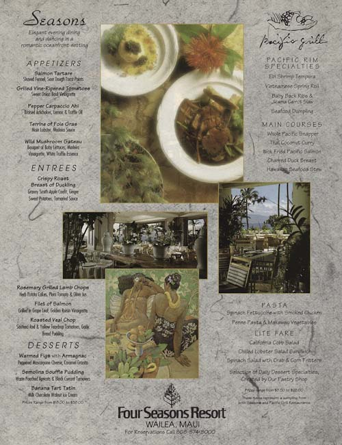 Menu Magazine Ad for Four Seasons Resort