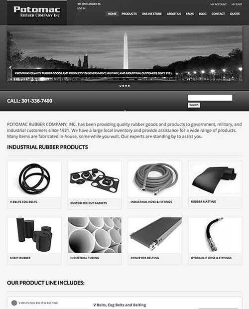 Potomac Rubber Company website screenshot gray