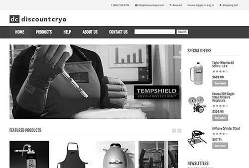 Discount Cryo website screenshot gray